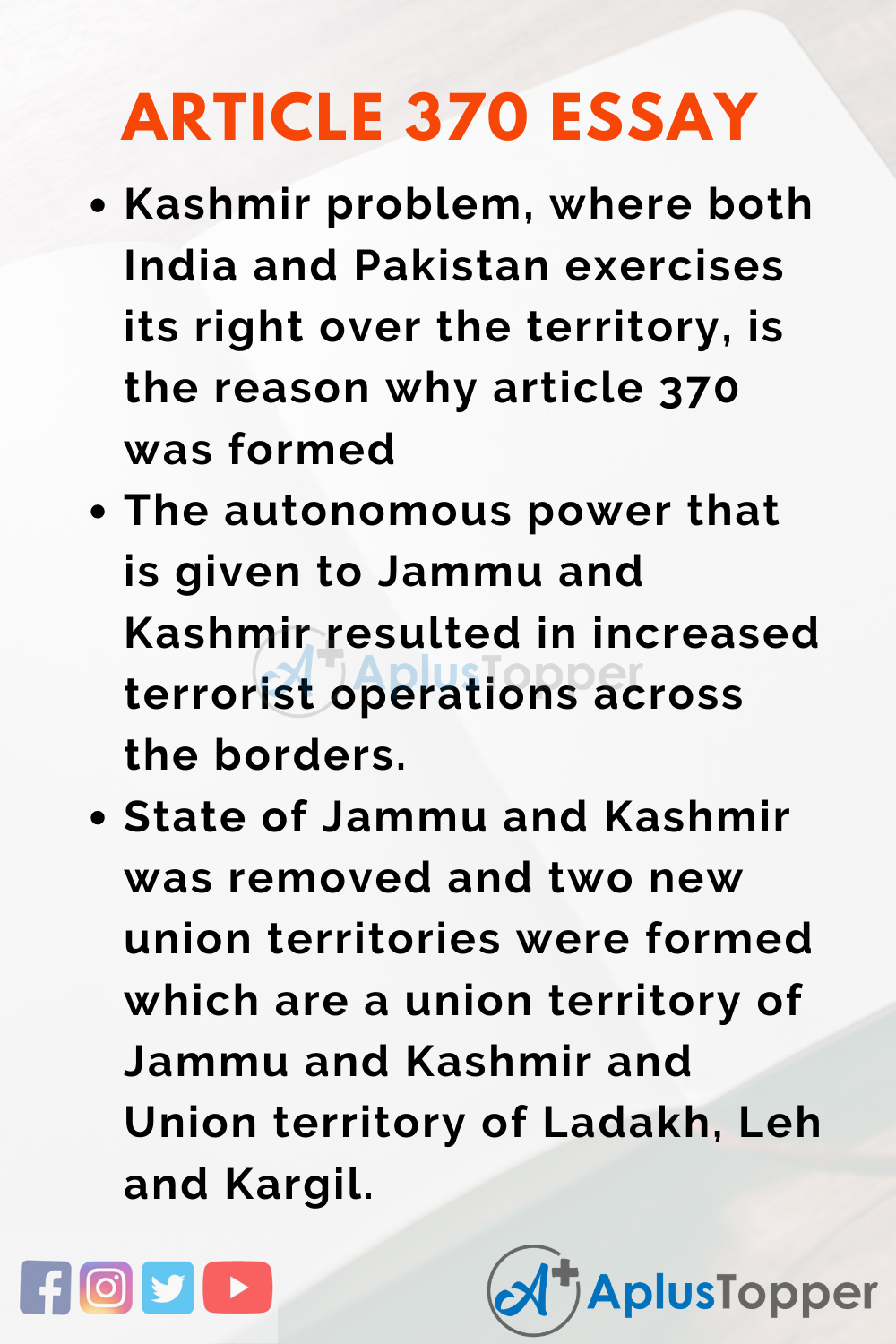Essay About Article 370