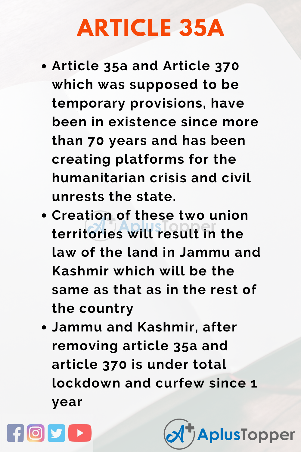Essay about Article 35A of Indian Constitution
