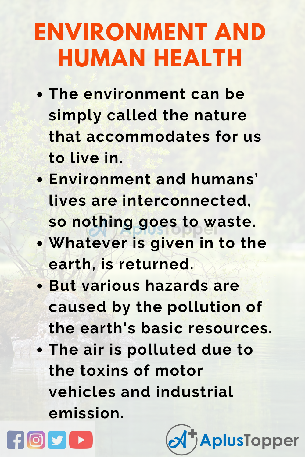 Essay about Environment and Human Health