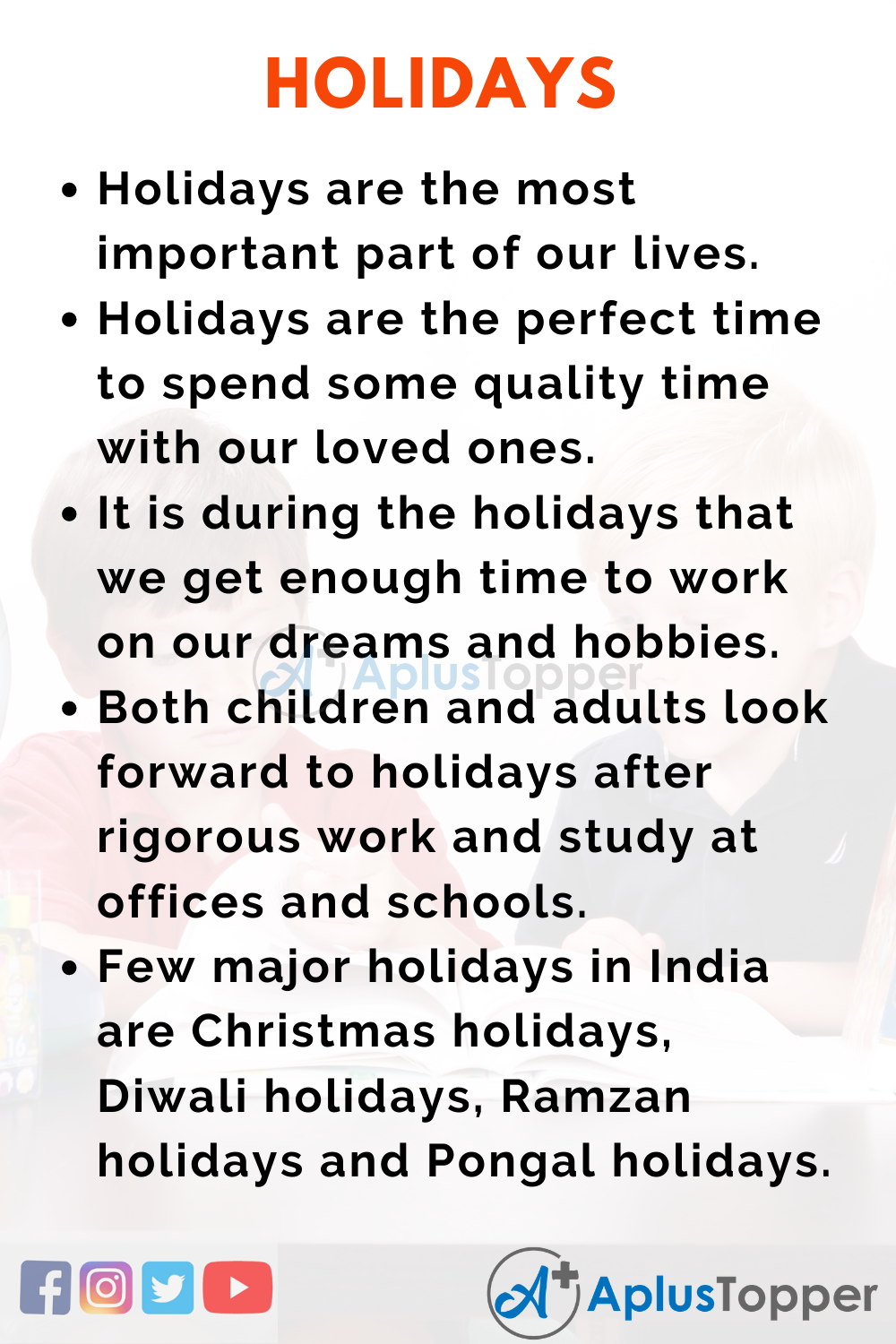 Essay about Holidays