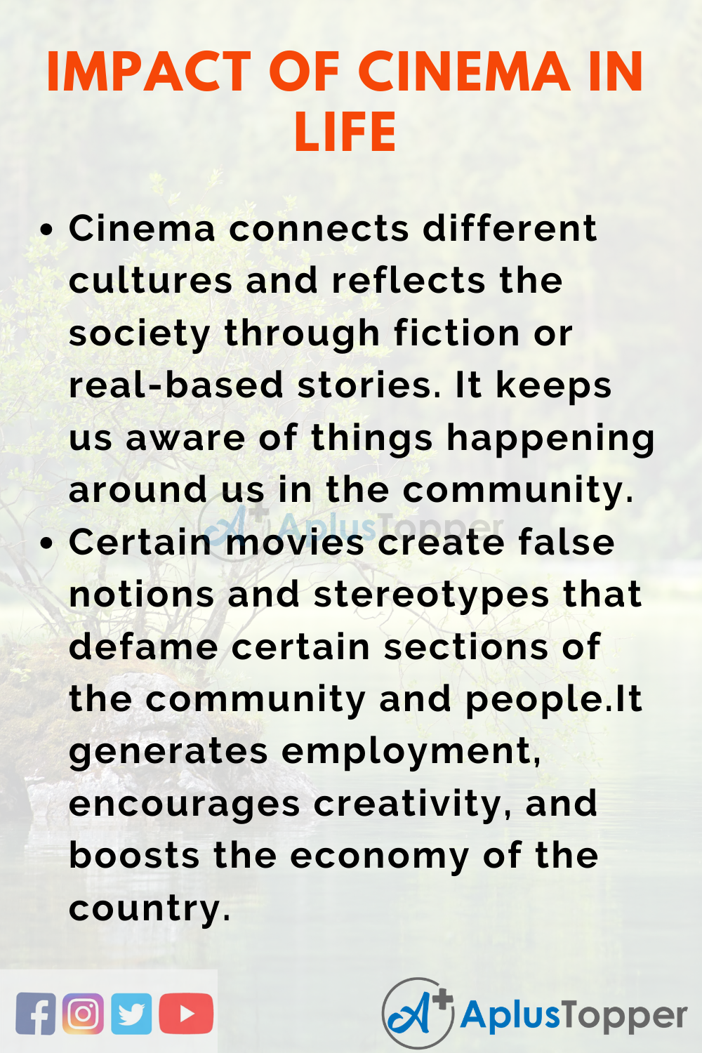 Essay about Impact of Cinema in Life