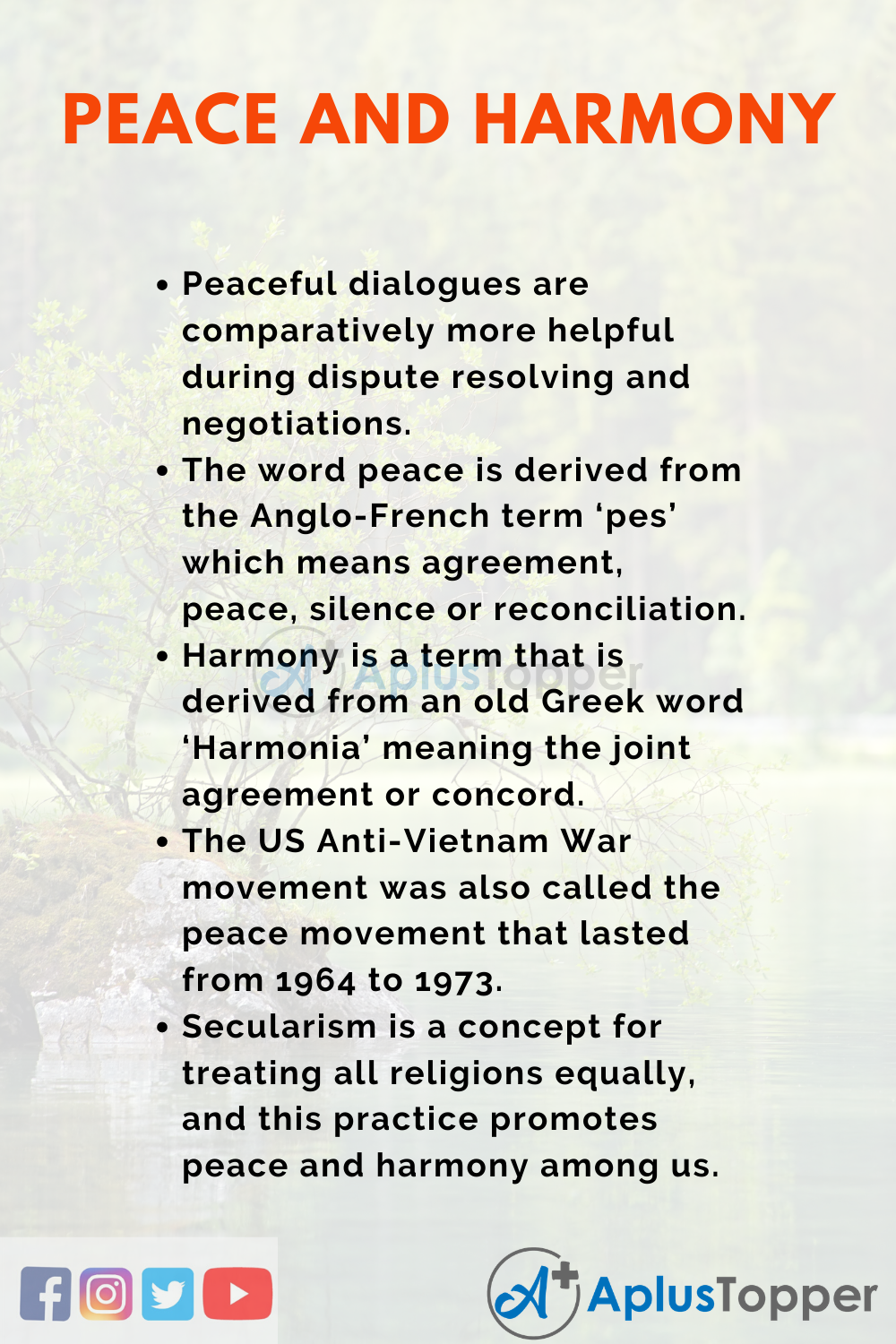 Essay about Peace and Harmony