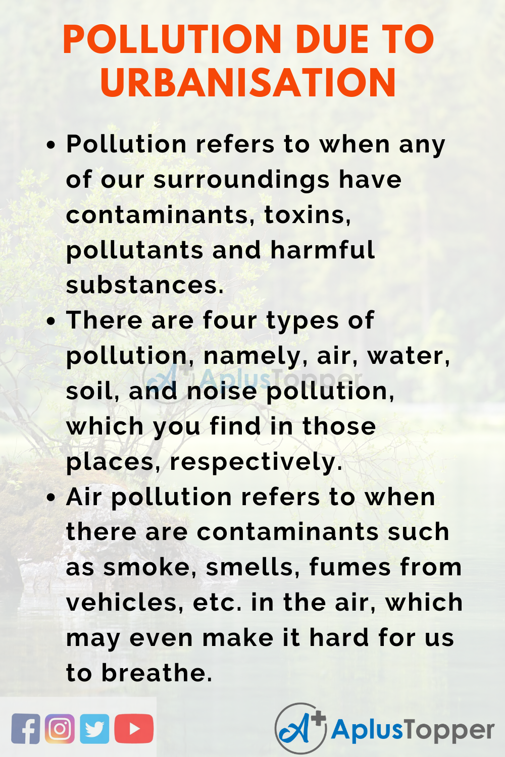 Essay about Pollution due to Urbanisation