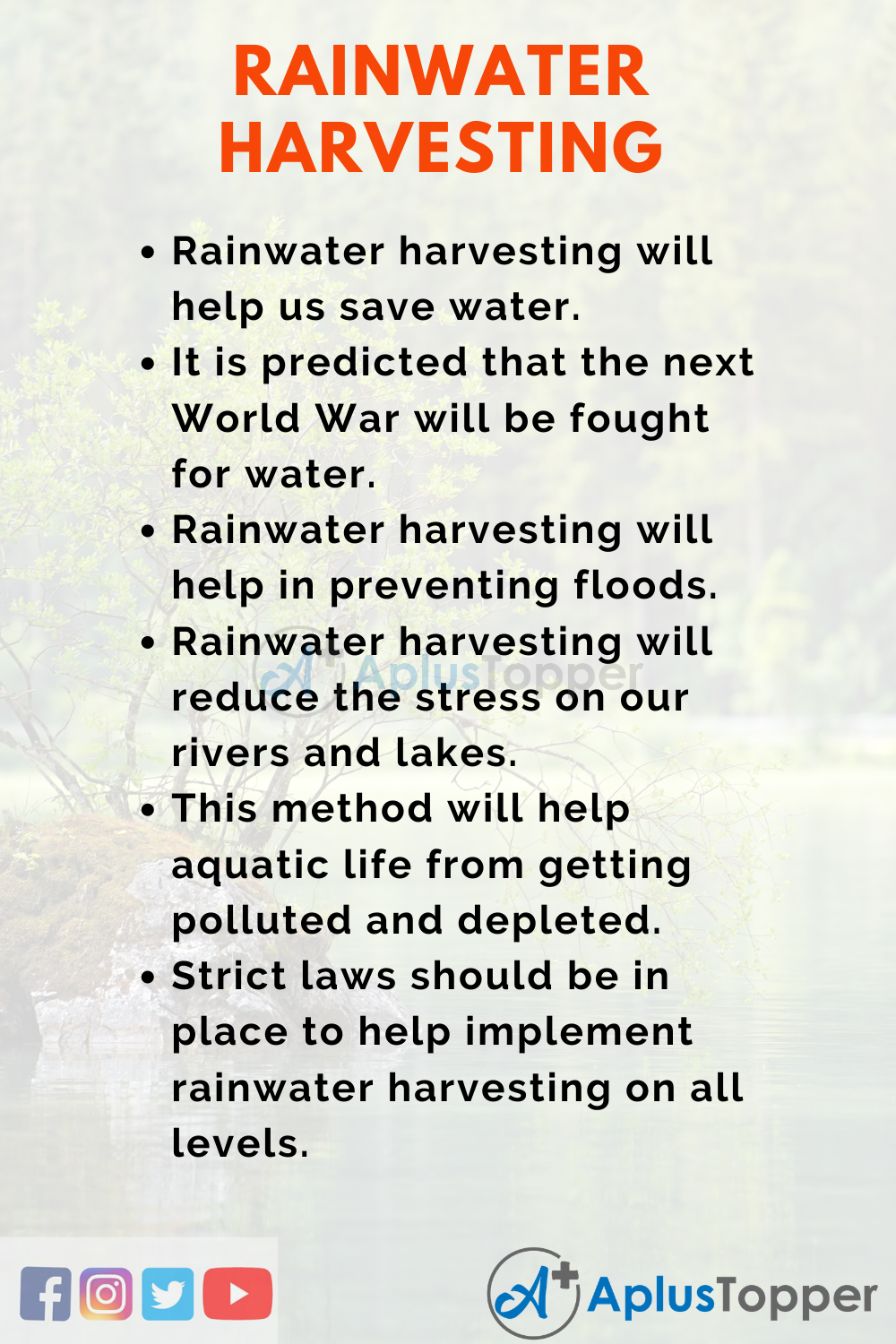 Essay about Rainwater Harvesting
