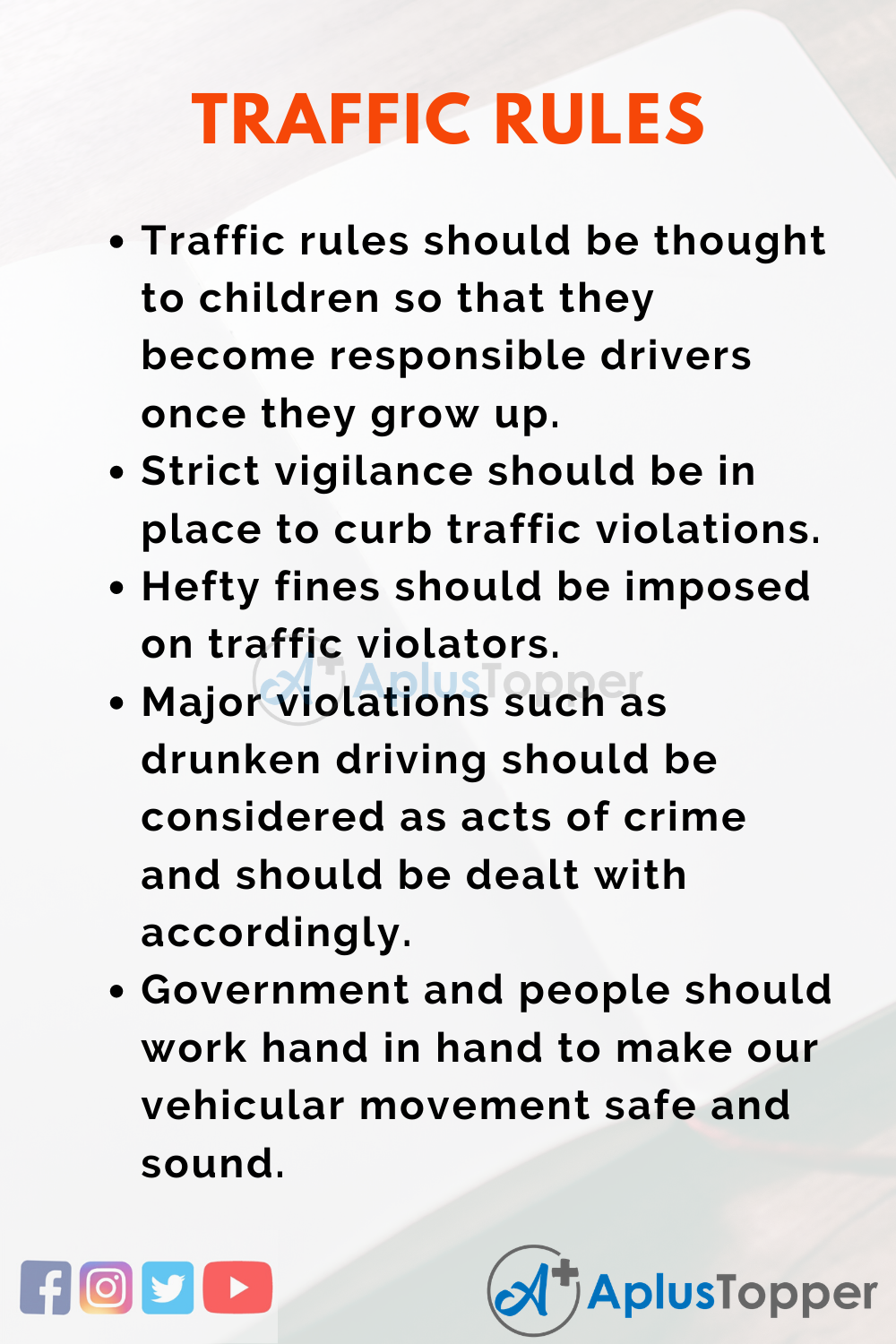 Essay about Traffic Rules