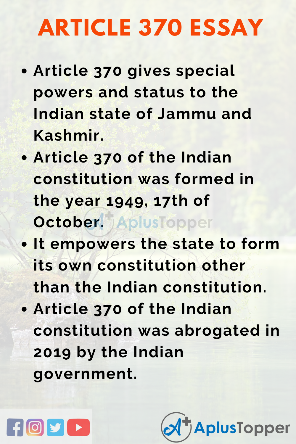 Essay on Article 370