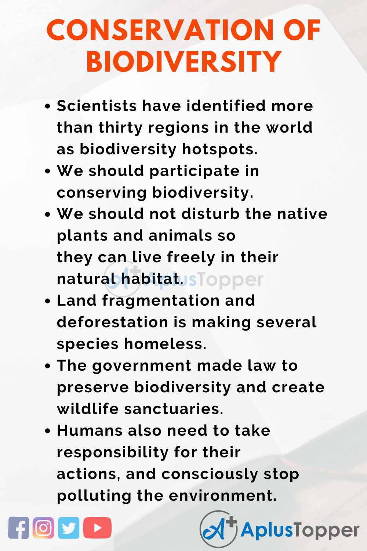 Essay on Conservation of Biodiversity