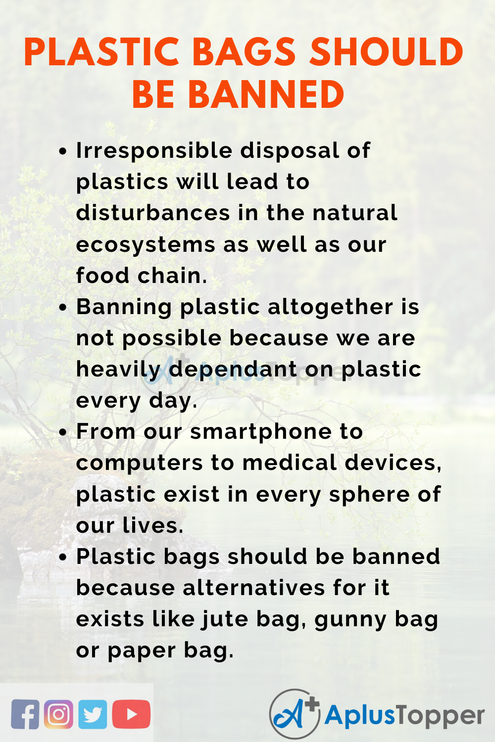 Essay on Plastic Bags Should be Banned