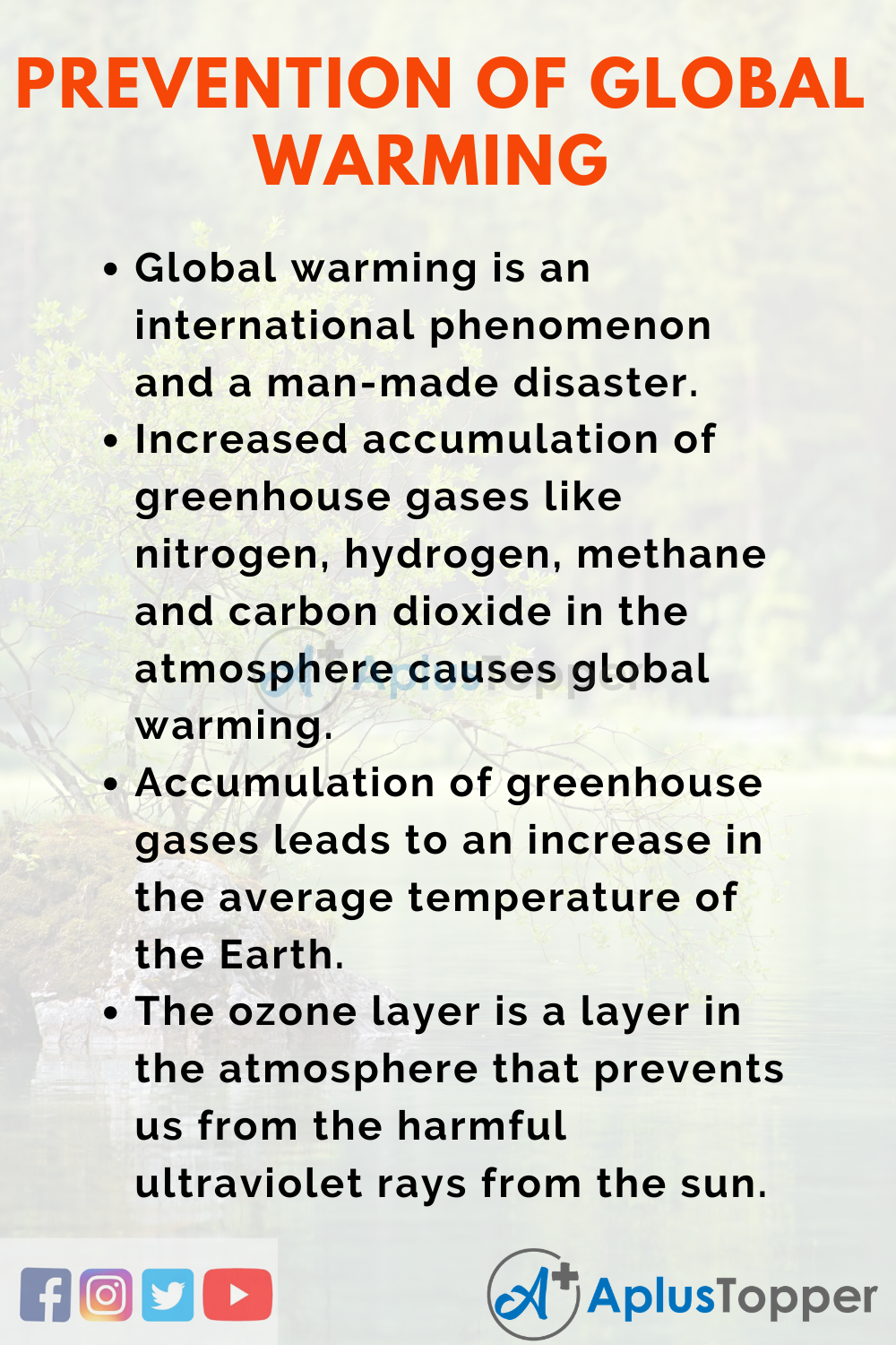 Essay on Prevention of Global Warming