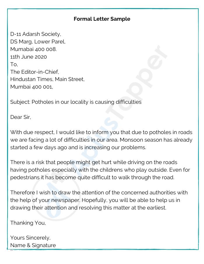 Formal Letter Sample