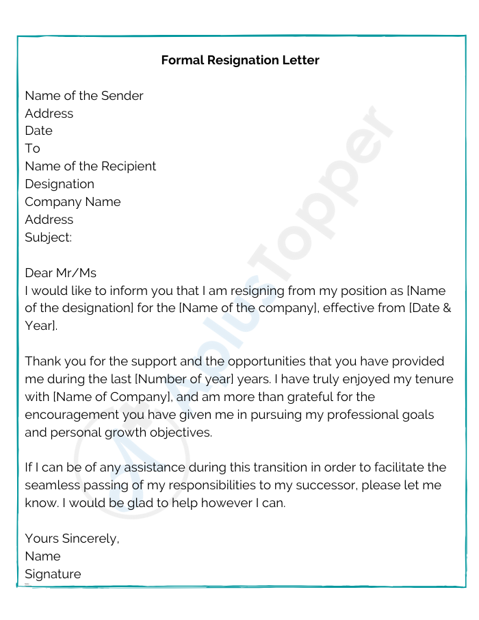 Formal Resignation Letter Format