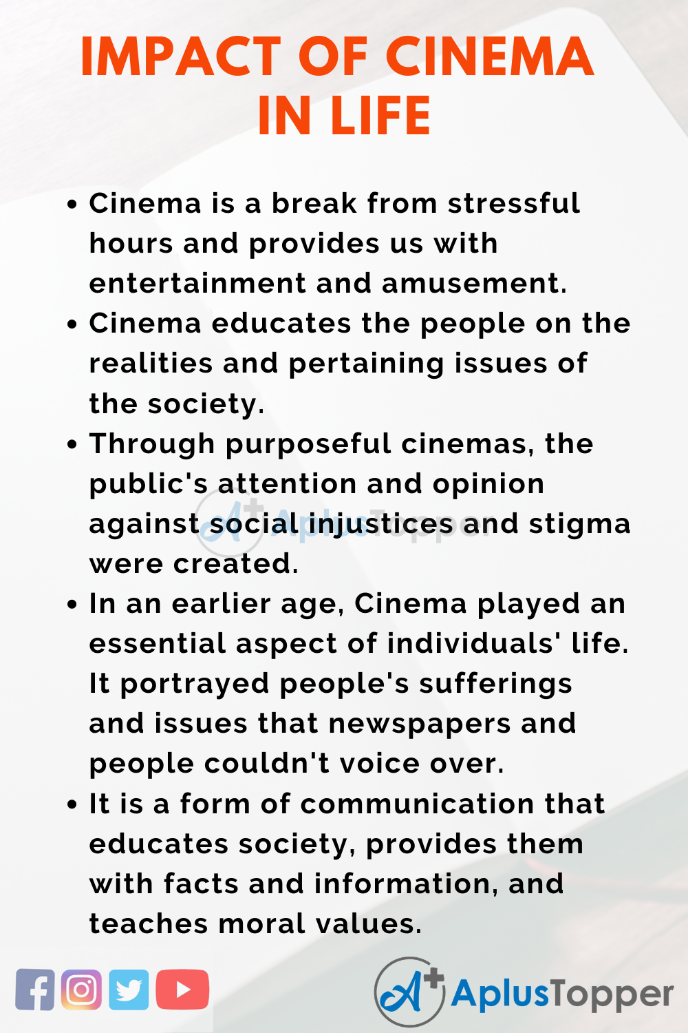 Impact of Cinema in Life Essay