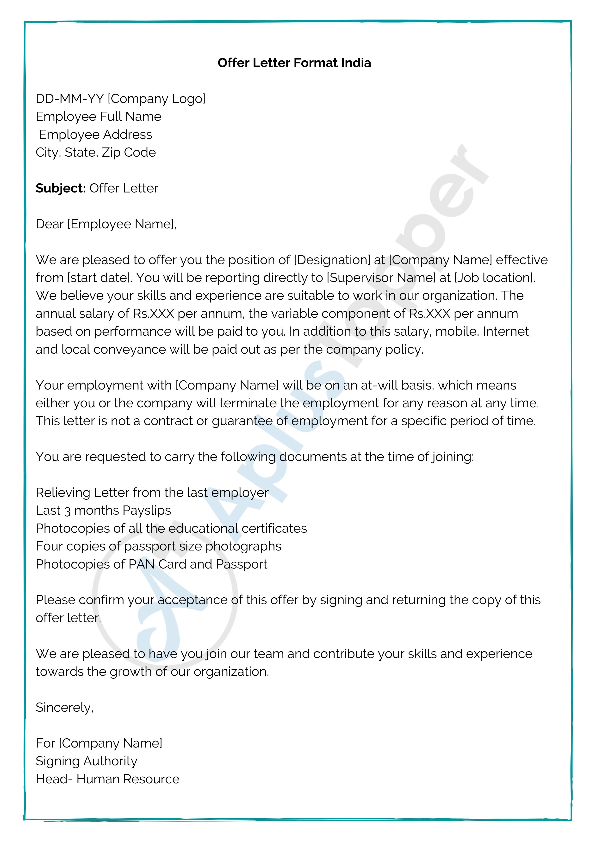 Offer Letter Sample India