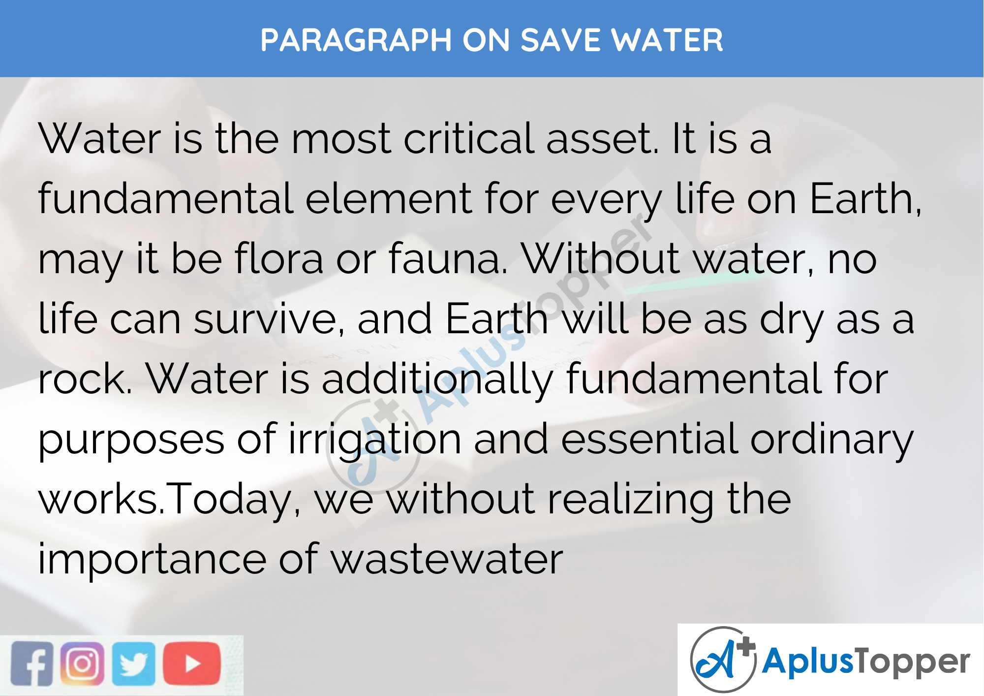 Paragraph On Save Water - 100 Words for Class 1,2,3 Kids