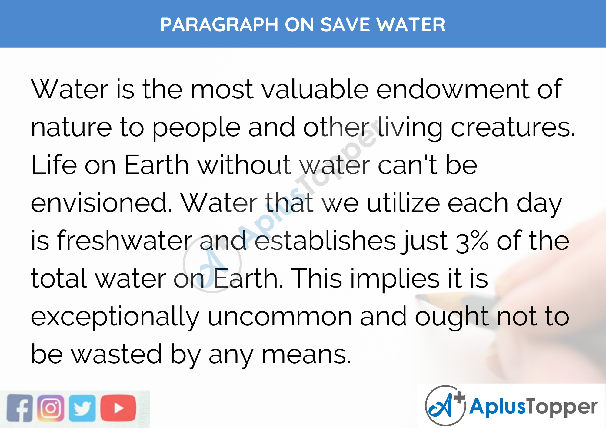 Paragraph On Save Water - 250 to 300 Words for Class 9, 10, 11, 12 And Competitive Exams Students