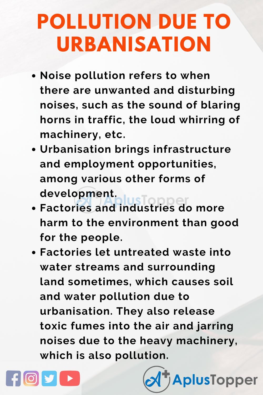 Pollution due to Urbanisation Essay