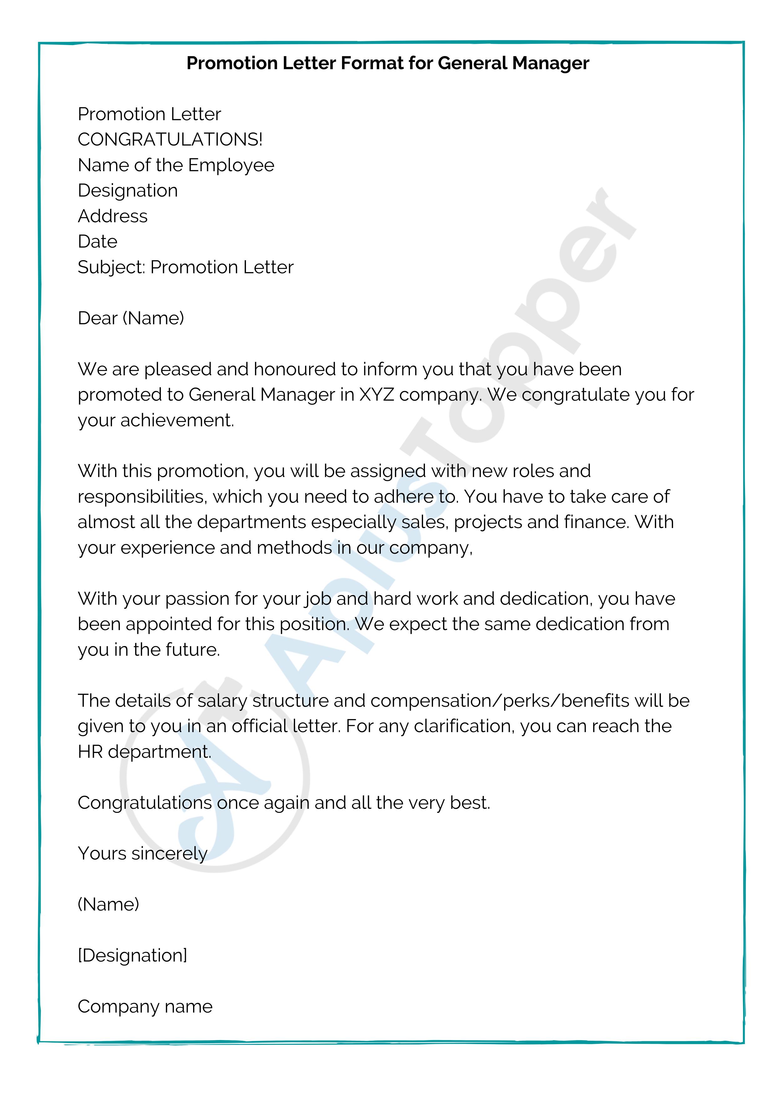 Promotion Letter Format for General Manager