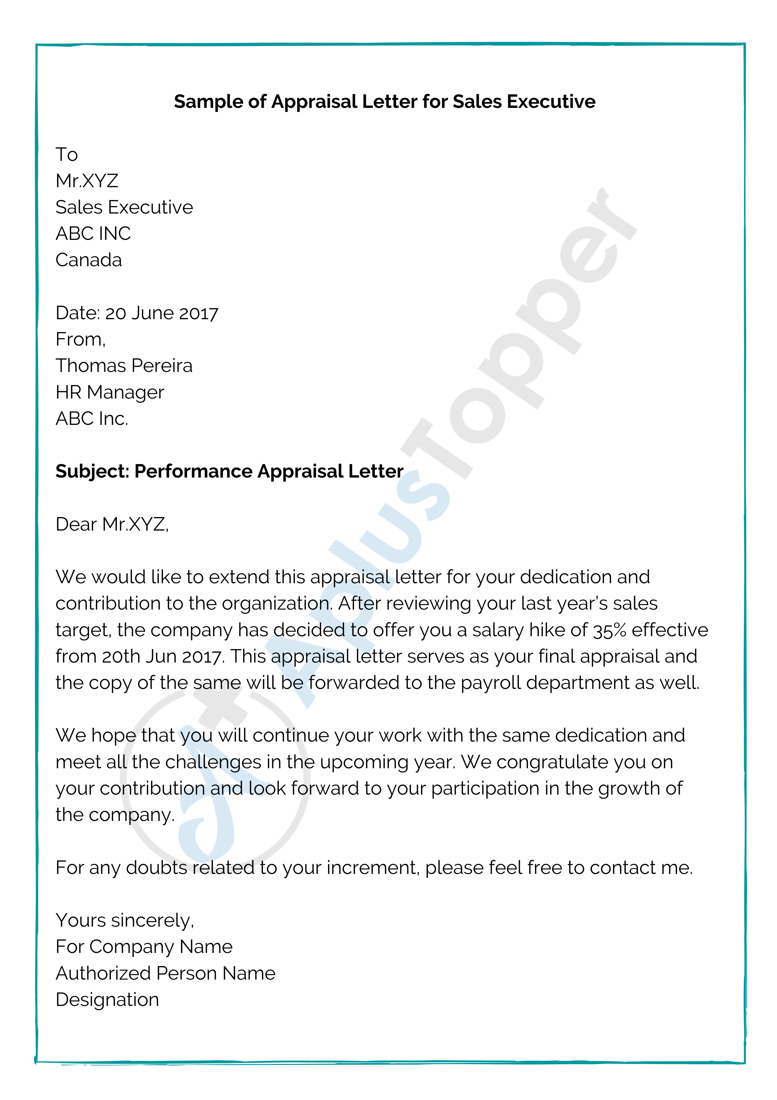 Sample of Appraisal Letter for Sales Executive