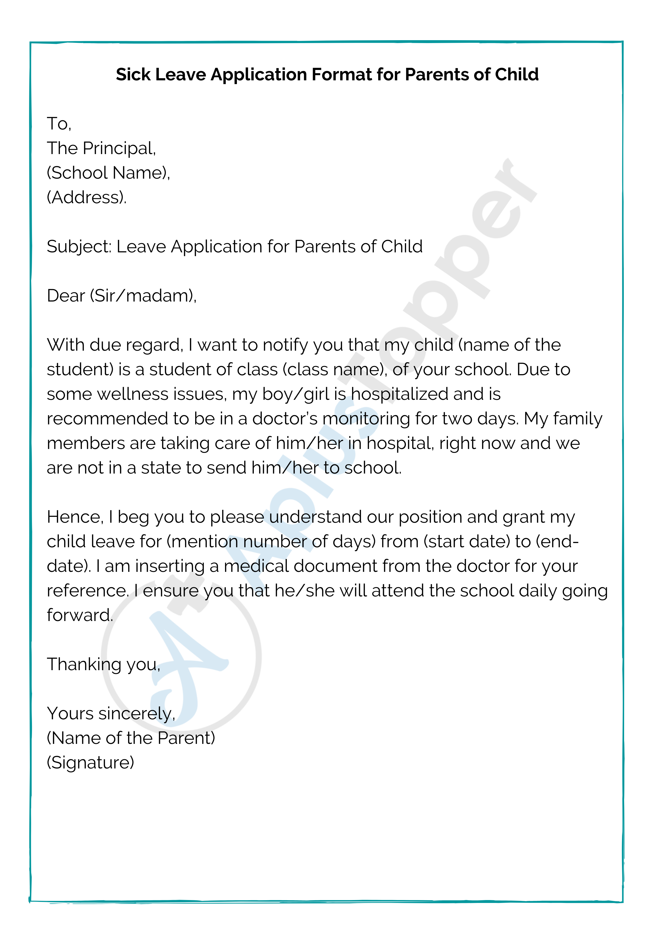 Sick Leave Application Format for Parents of Child