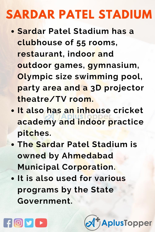 Ten Lines on Sardar Patel Stadium