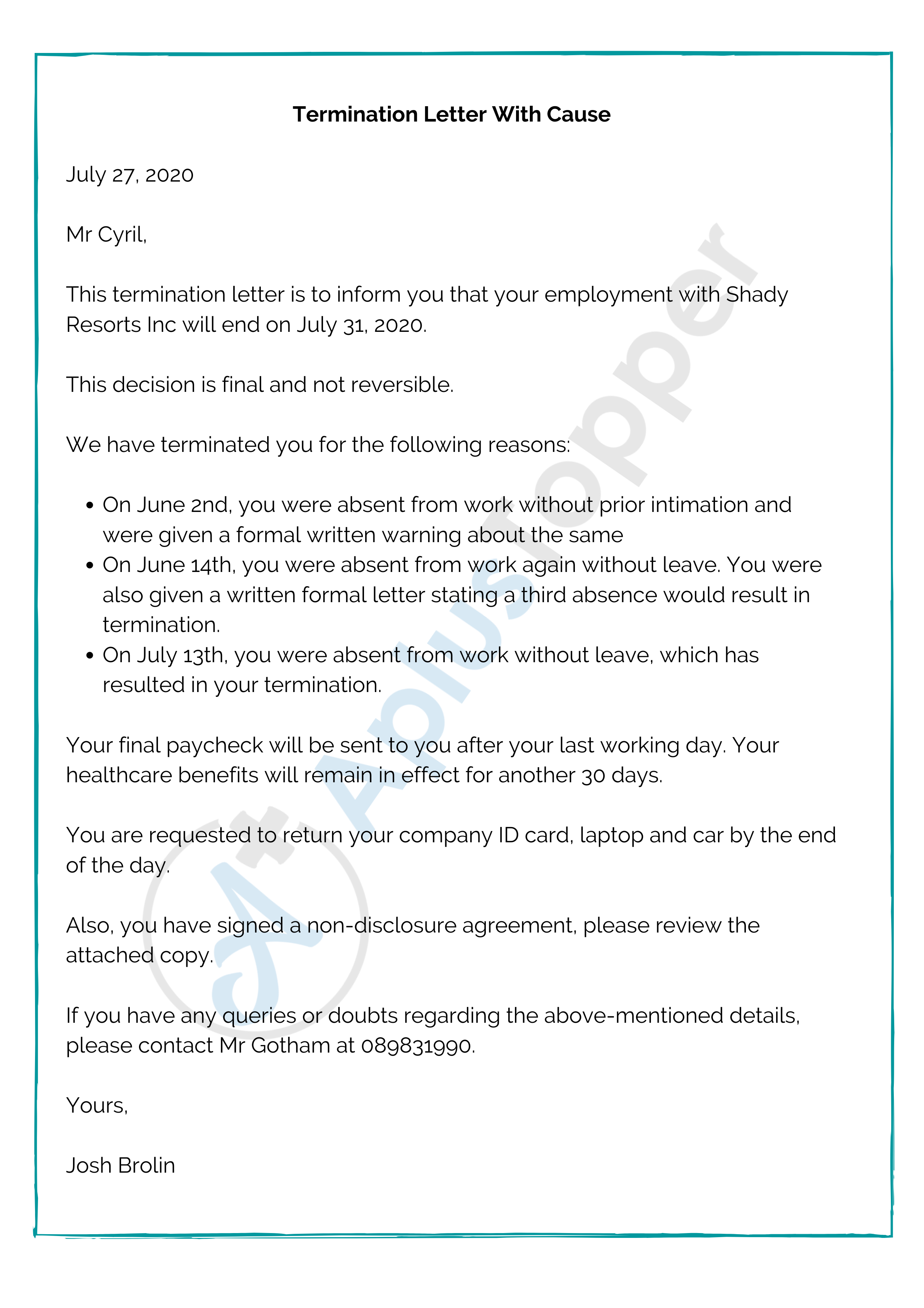 Termination Letter With Cause