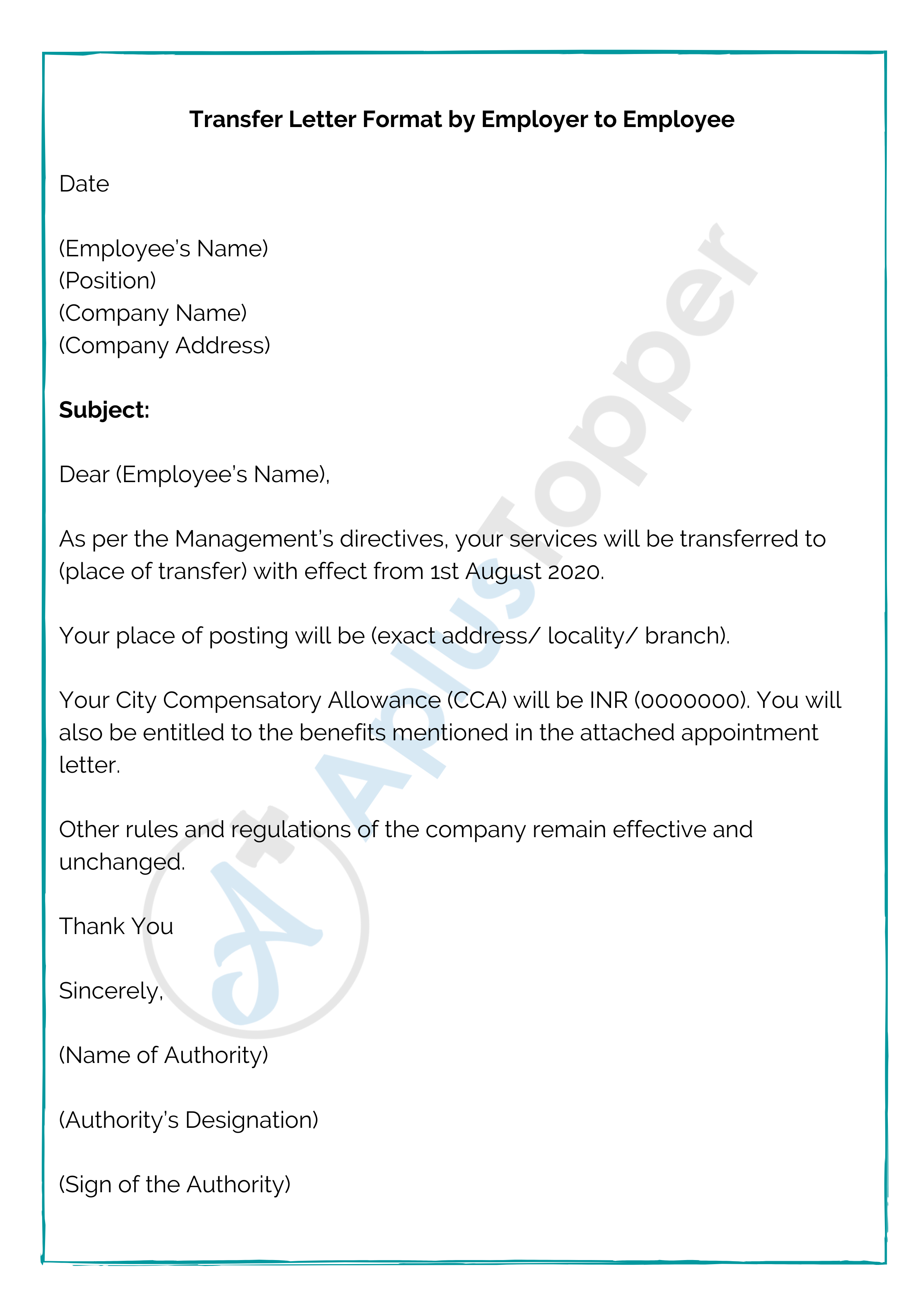 Transfer Letter Format By Employer To Employee