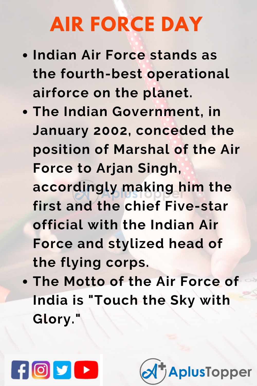 10 Lines On Air Force Day for Higher Class Students