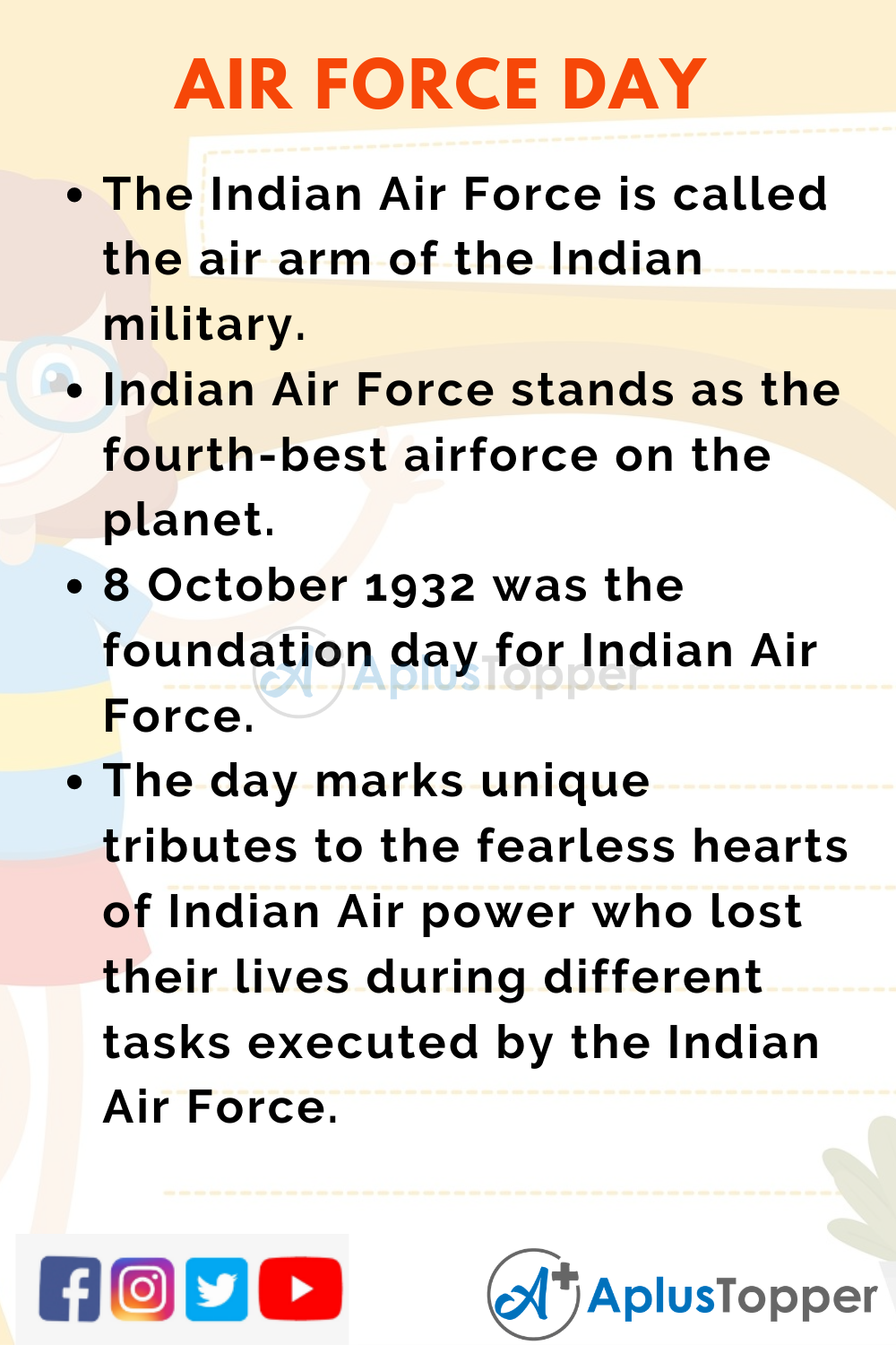 10 Lines On Air Force Day for Kids