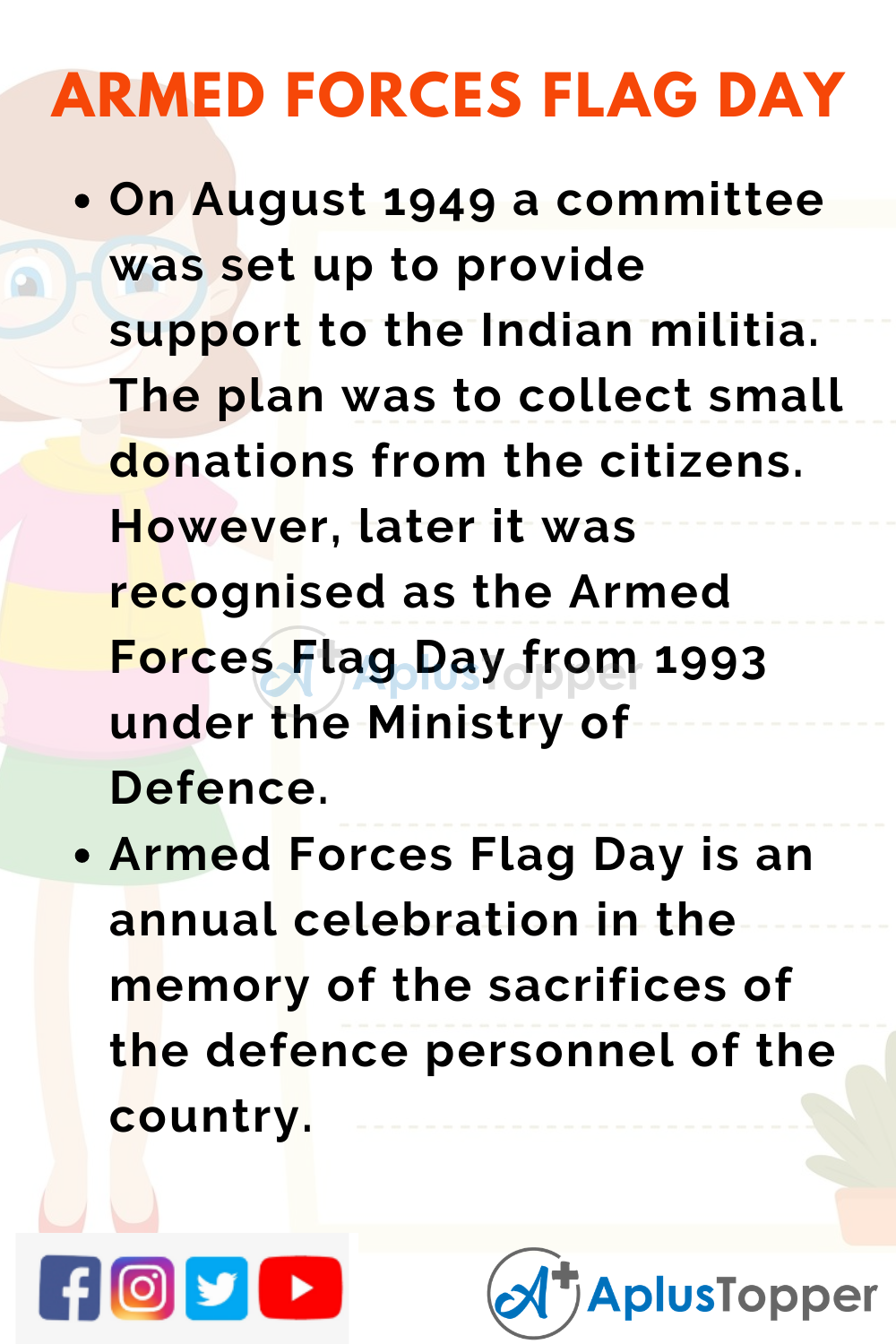 10 Lines On Armed Forces Flag Day for Higher Class Students