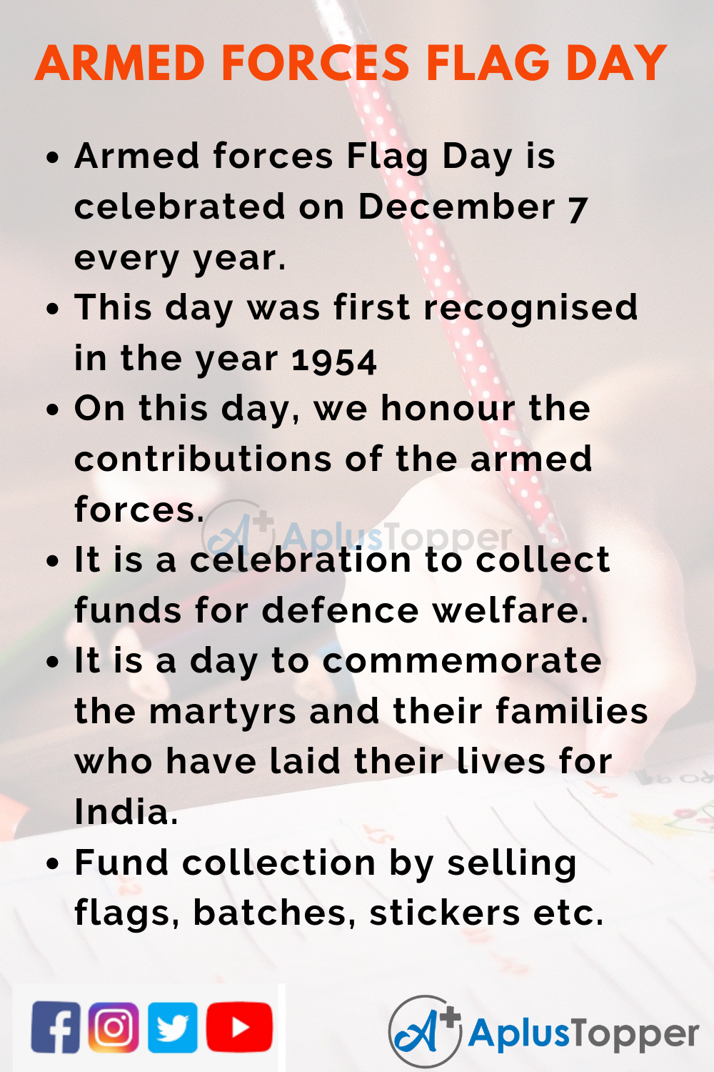 10 Lines On Armed Forces Flag Day for Kids