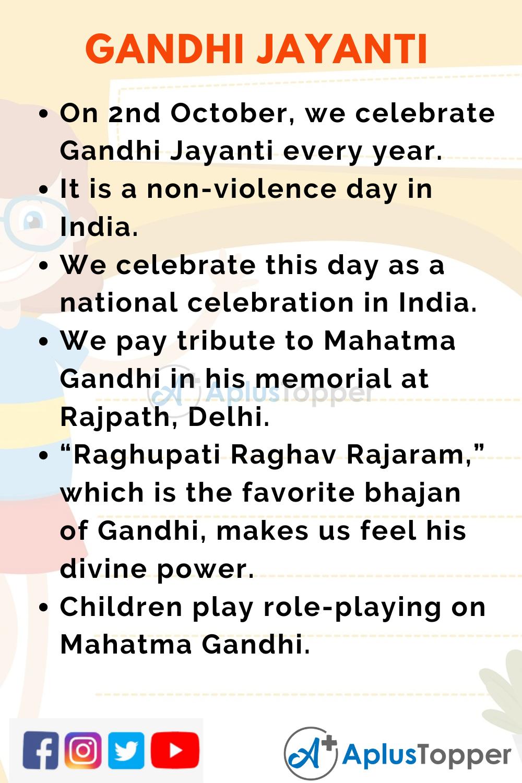 10 Lines On Gandhi Jayanti for Kids