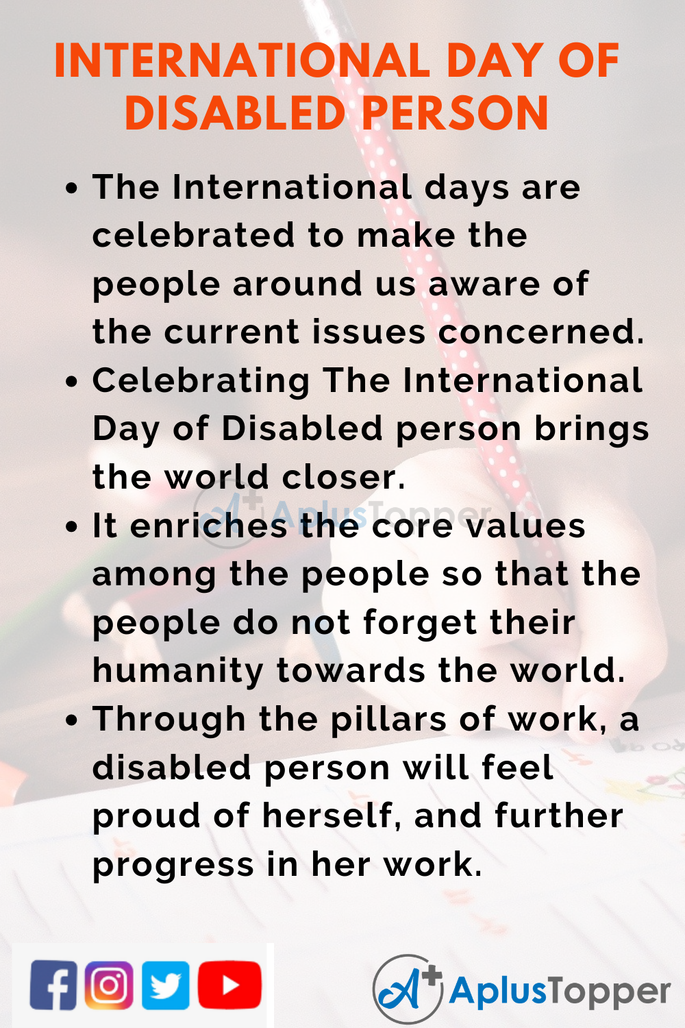 10 Lines On International Day Of Disabled Person for Higher Class Students