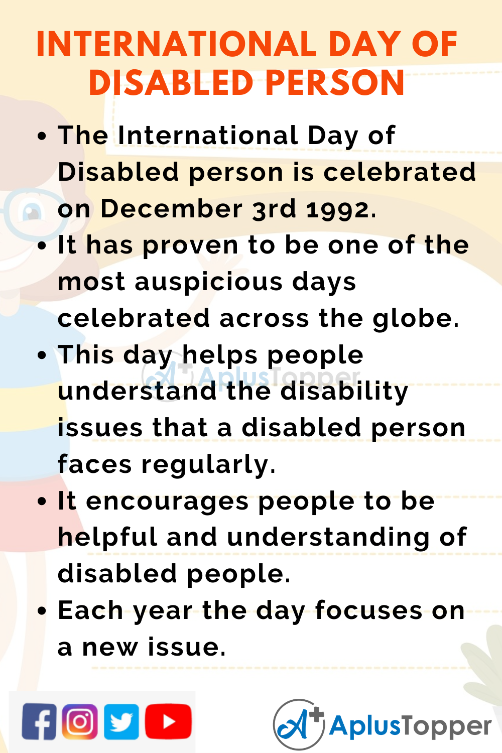 10 Lines On International Day Of Disabled Person for Kids