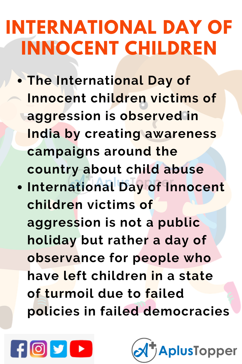 10 Lines On International Day Of Innocent Children Victims Of Aggression for Higher Class Students