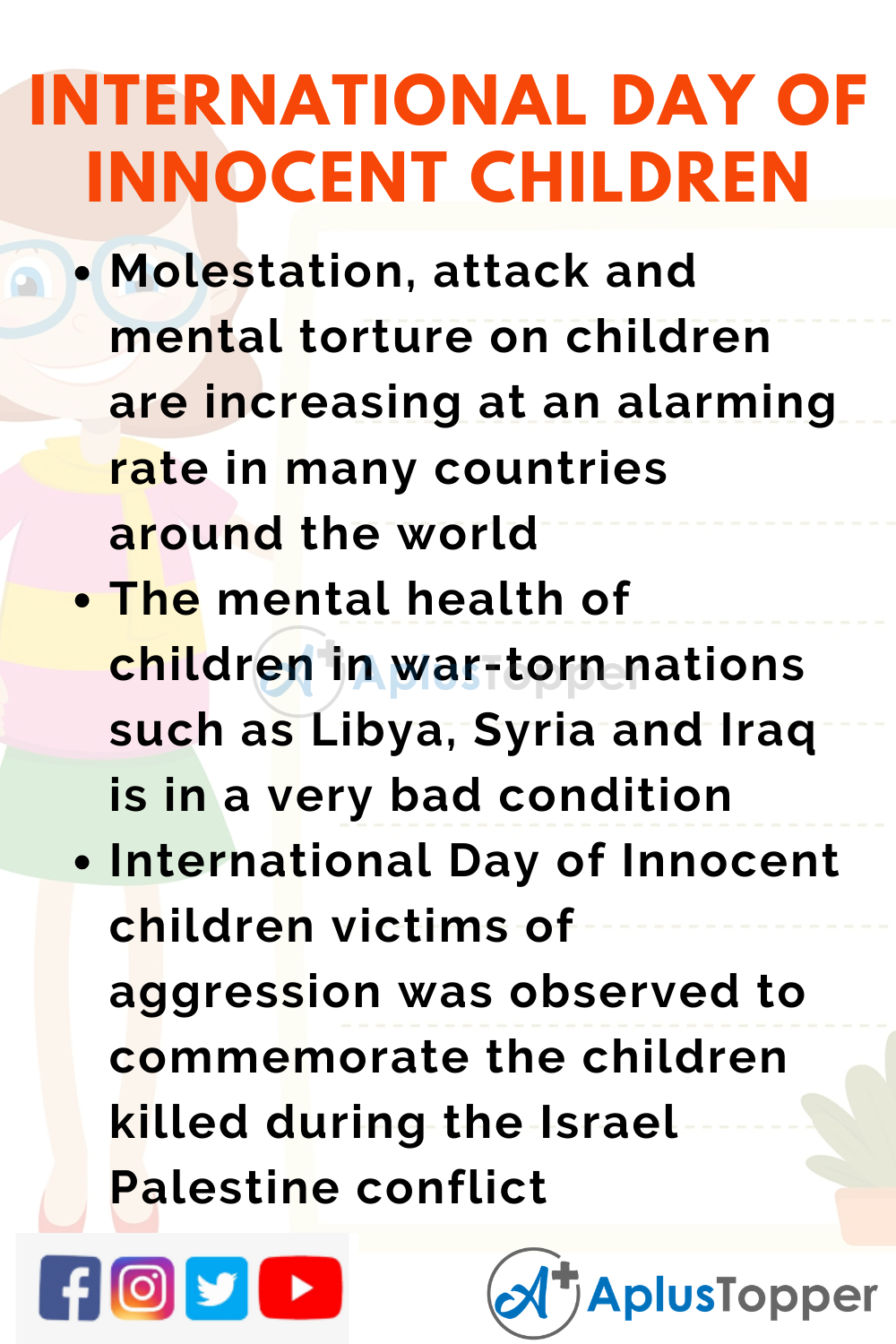 10 Lines On International Day Of Innocent Children Victims Of Aggression for Kids