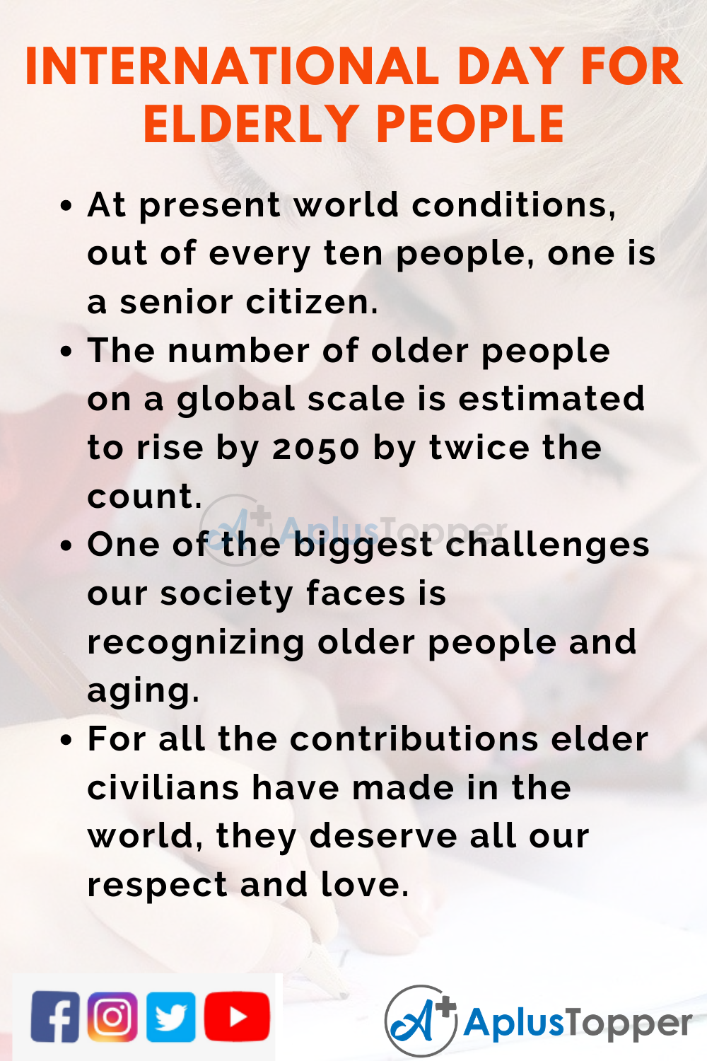10 Lines On International Day for Elderly People Higher Class Students