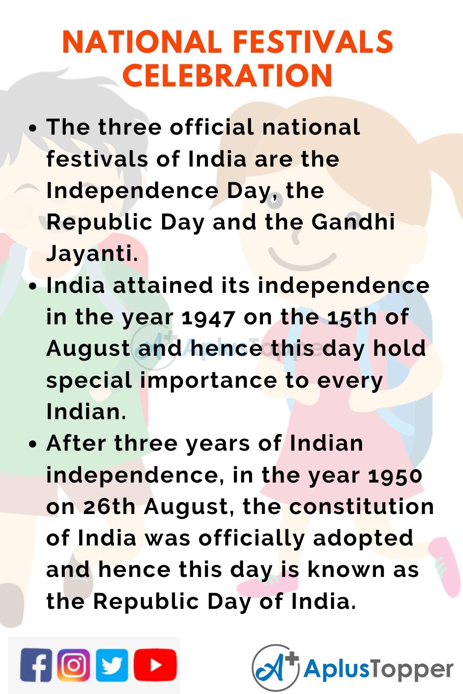 10 Lines On National Festivals Celebration for Kids