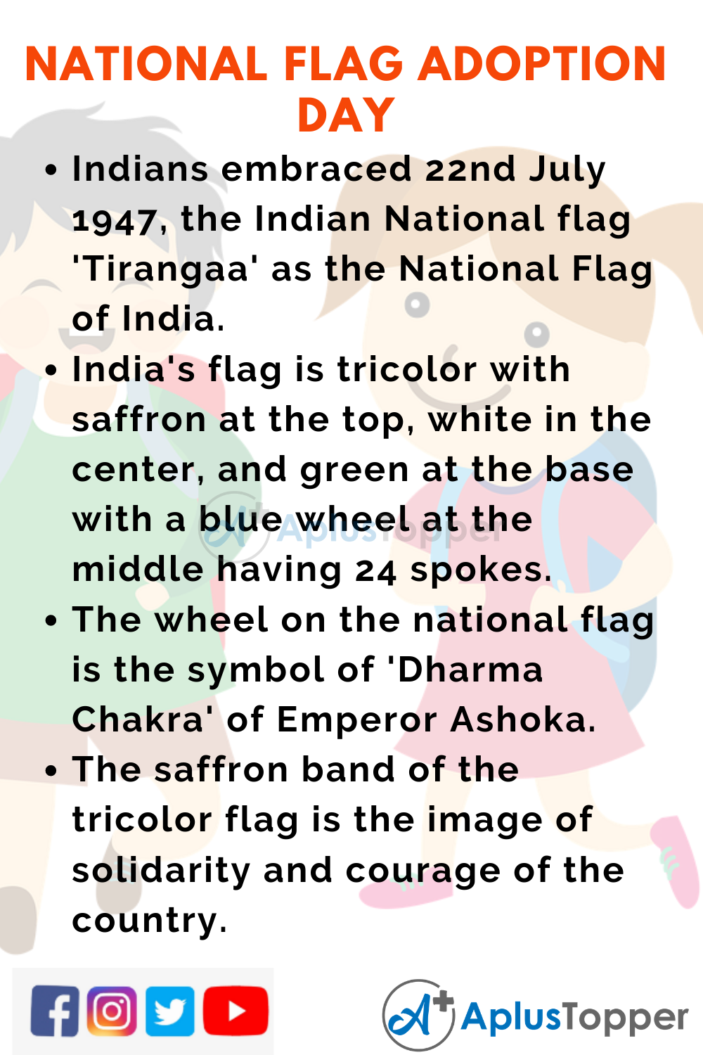 10 Lines On National Flag Adoption Day for Higher Class Students