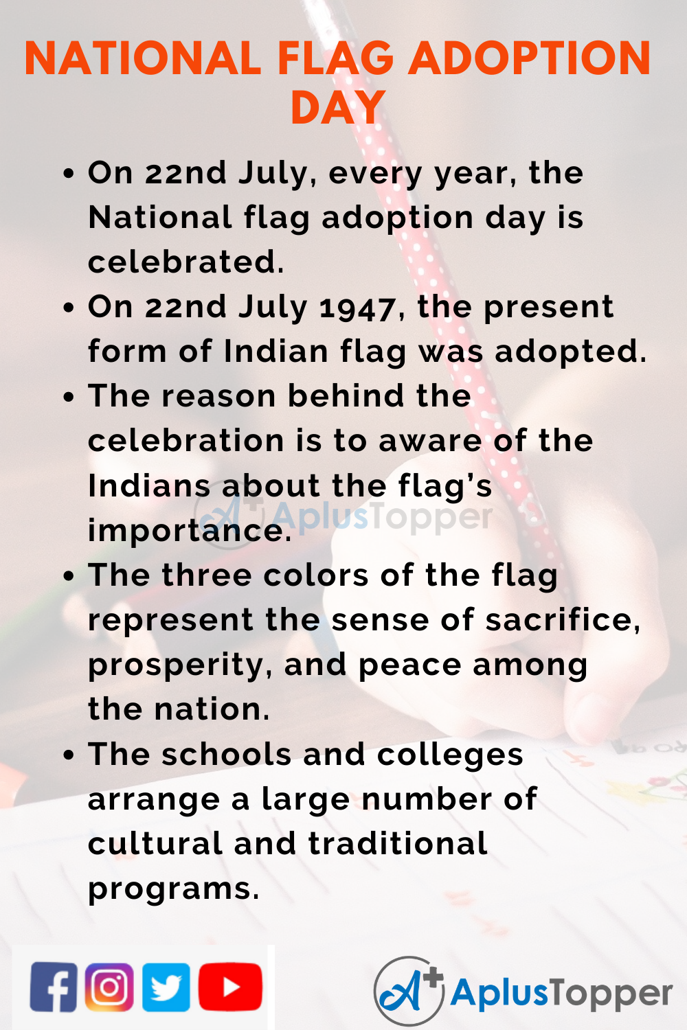 10 Lines On National Flag Adoption Day for Kids