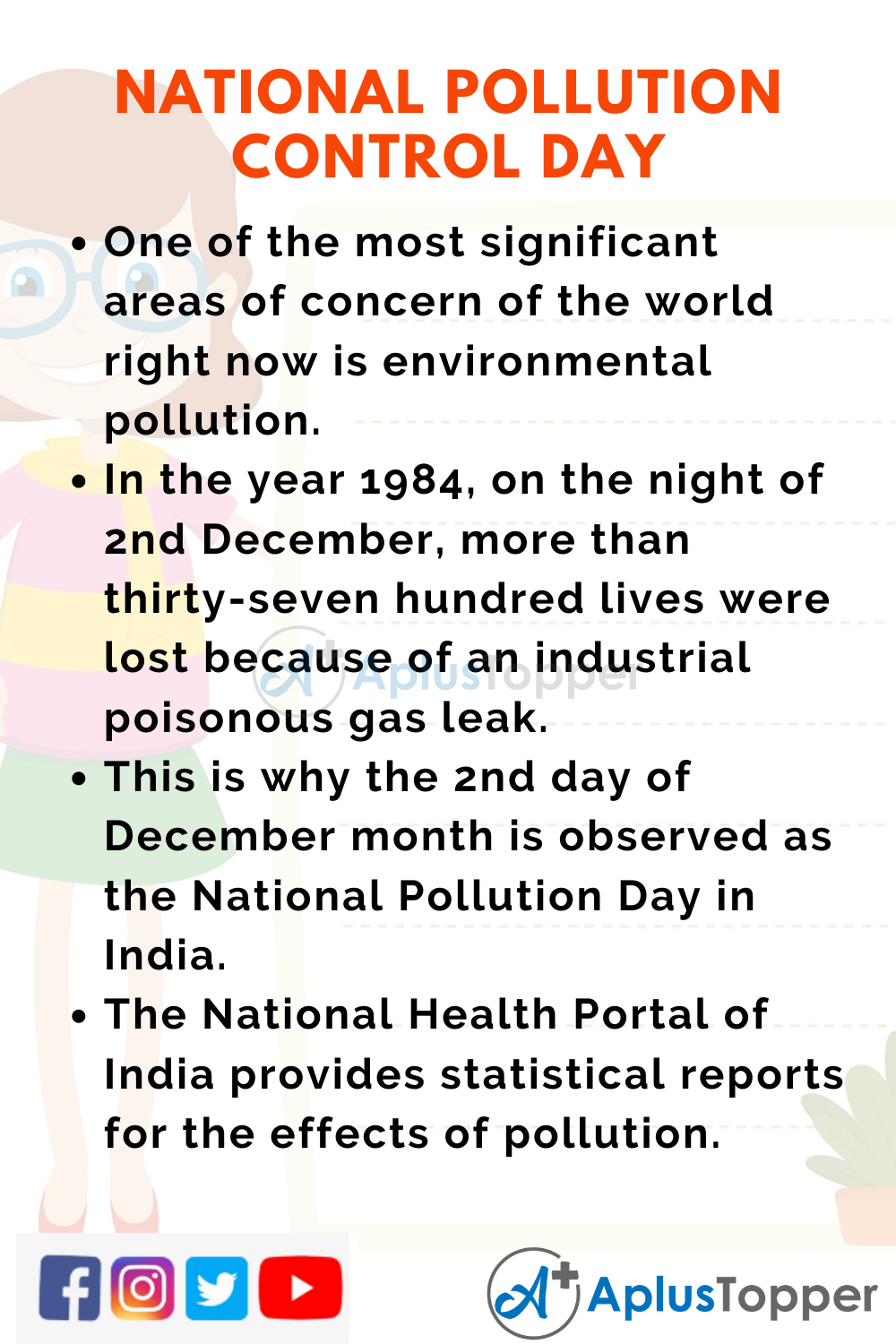 10 Lines On National Pollution Control Day for Higher Class Students