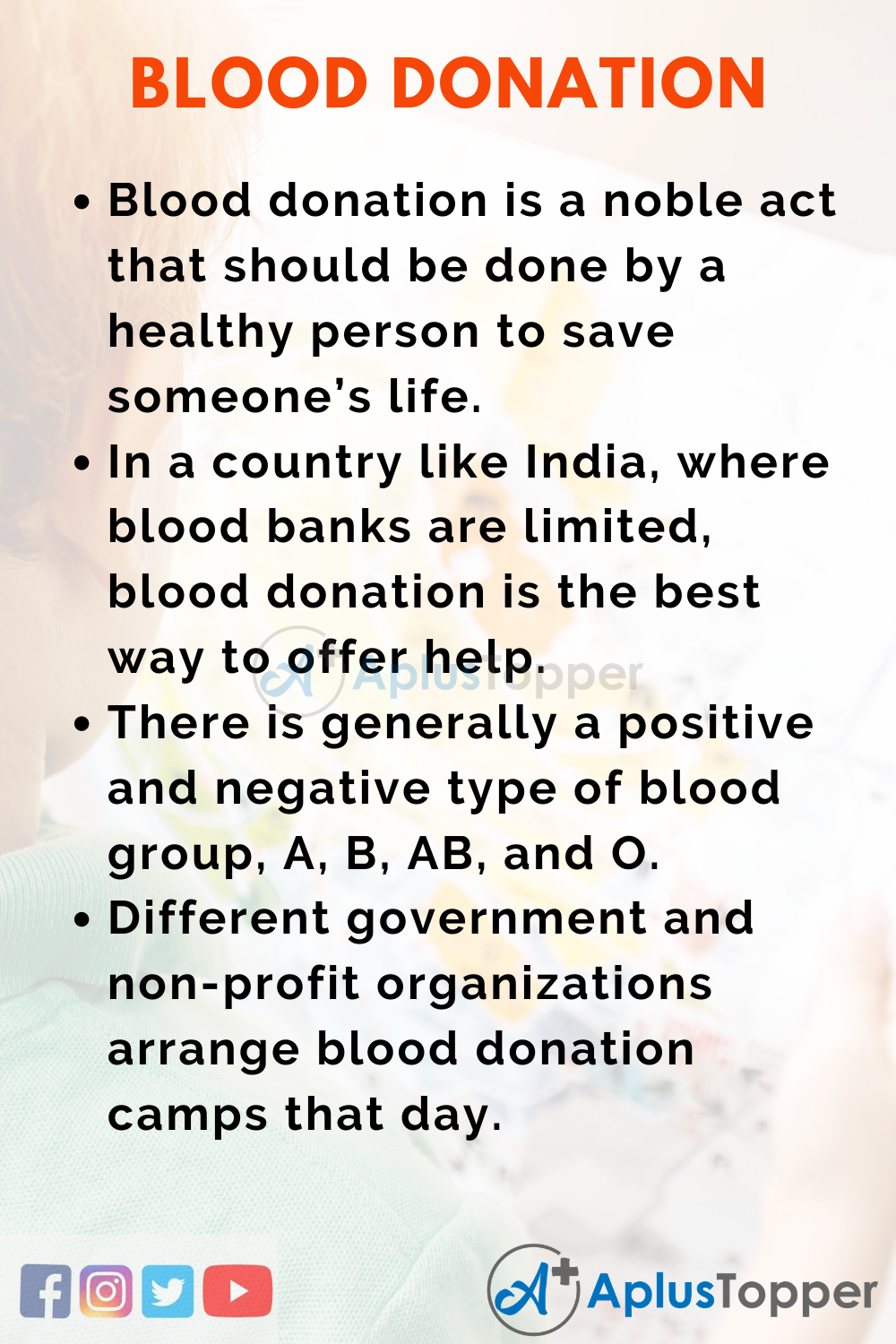 10 Lines On National Voluntary Blood Donation Day for Higher Class Students