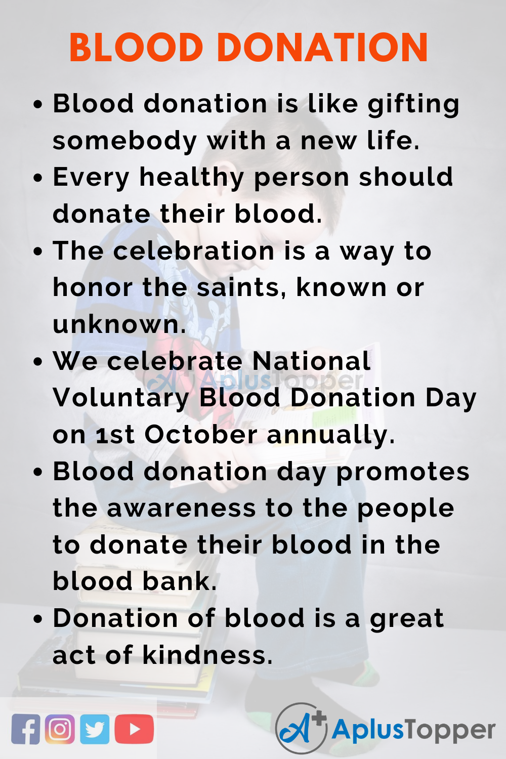 10 Lines On National Voluntary Blood Donation Day for Kids