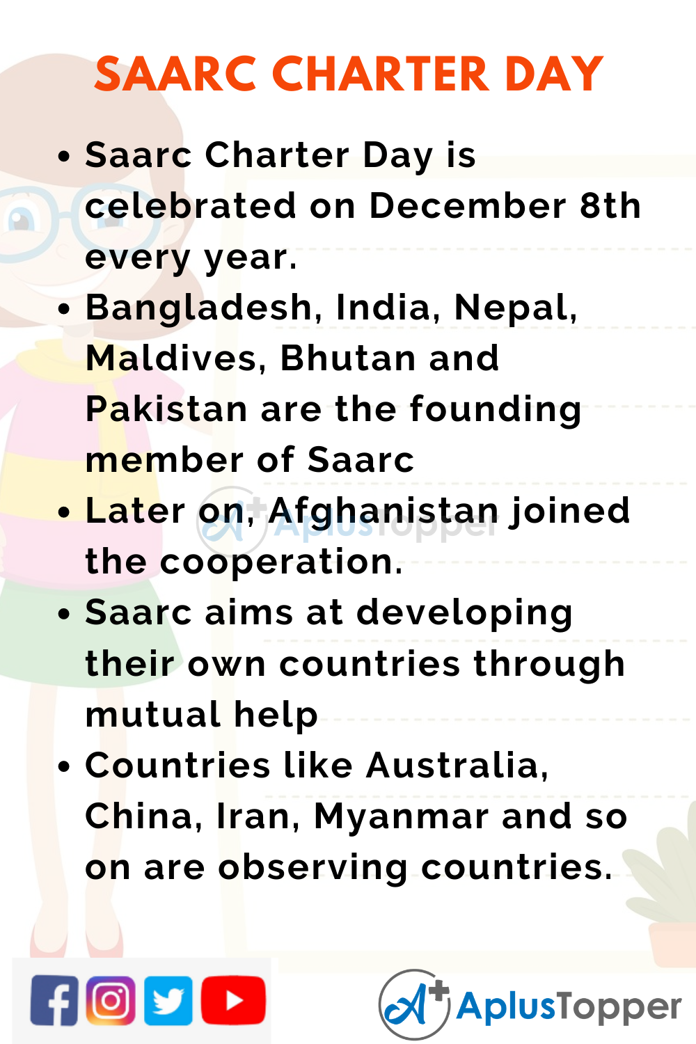 10 Lines On Saarc Charter Day for Kids