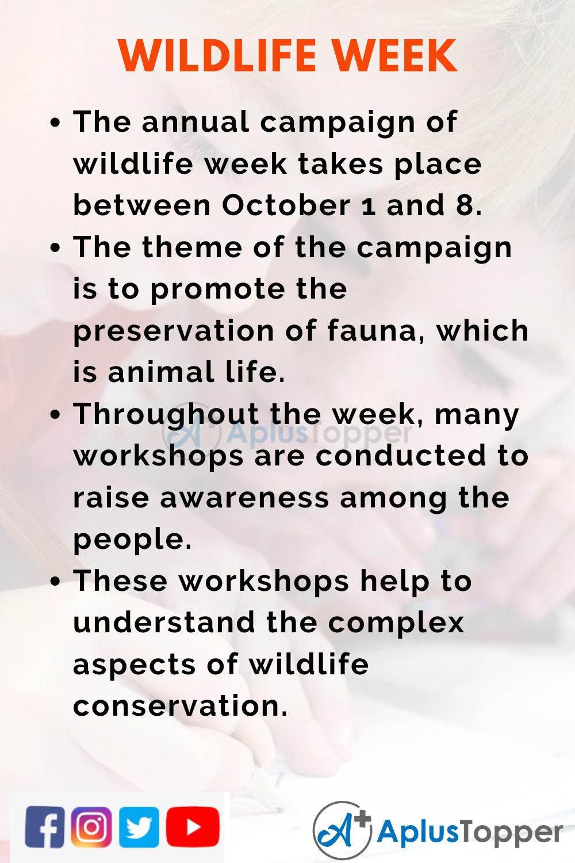 10 Lines On Wildlife Week for Kids