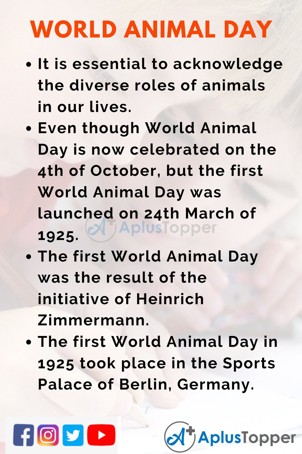 10 Lines On World Animal Day for Higher Class Students