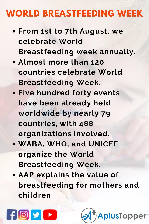 10 Lines On World Breastfeeding Week for Kids