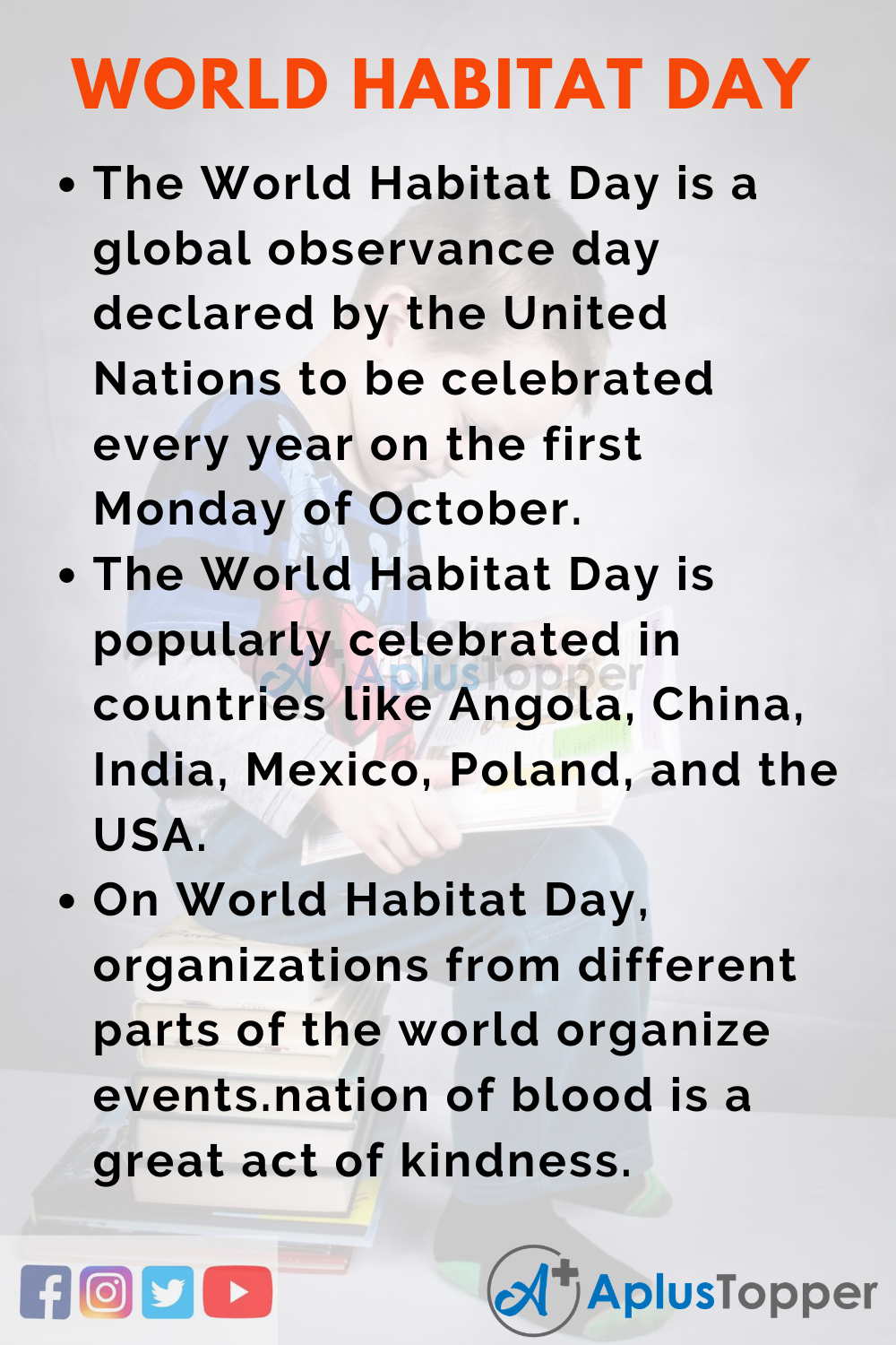 10 Lines On World Habitat Day for Higher Class Students