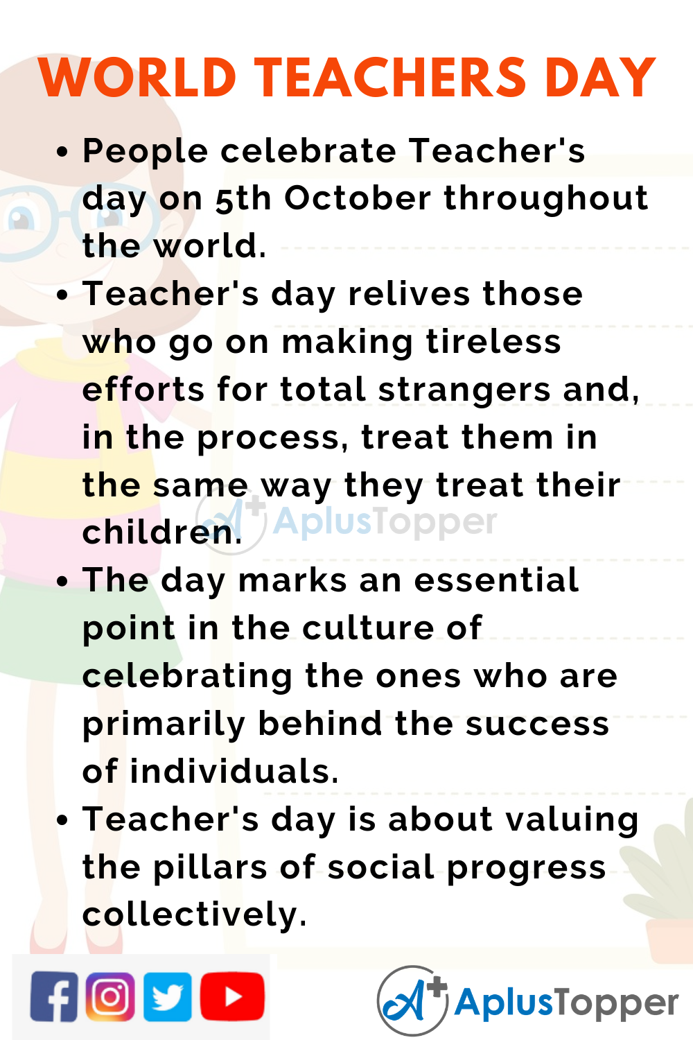 10 Lines On World Teacher's Day for Higher Class Students