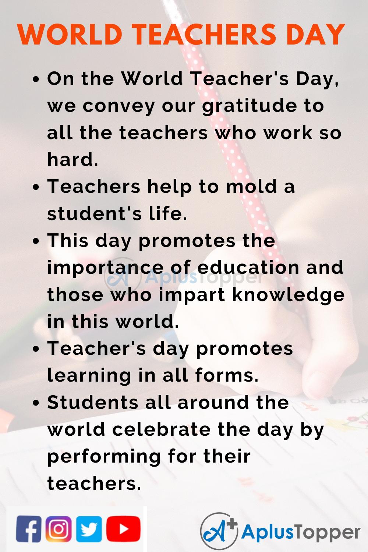 10 Lines On World Teacher's Day for Kids