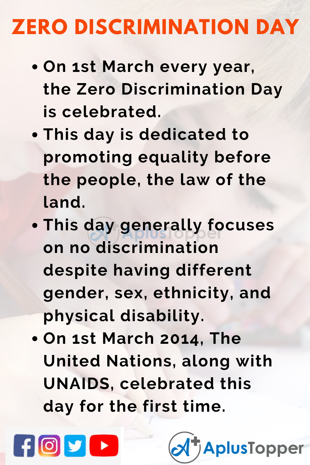10 Lines On Zero Discrimination Day for Kids